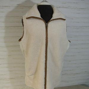 CHAPS Ralph Lauren XL Women Off White Fleece Vest